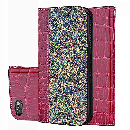 Black Sales Friday Deals Cyber Sales Monday Deals Week-iPhone 6s Wallet Case,iPhone 6 Cover [Bling Glitter Shiny] Leather Flip Folio Case Kickstand Credit Card/ID Slots (Red-iPhone 6s/6)