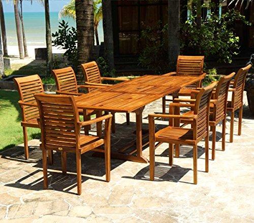 Salon Jardin en Teck huilé livré avec 8 fauteuils