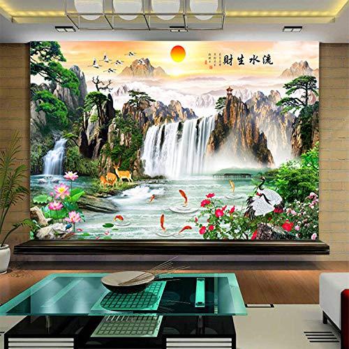 3D paisaje pintura naturaleza papel tapiz del sol naciente agua TV fondo mural de pared para sala de estar y comedor-150 * 105cm