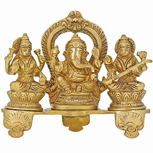 Shalinindia Handgefertigte indische Ganesha, Lakshmi und Saraswati-Statue aus Messing – Hindu-religiöse Gegenstände für Zuhause Puja oder Tempel – 15,2 x 15,2 x 5,1 cm – 1,2 kg