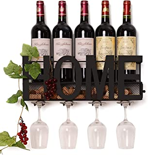 Wall Mounted Wine Rack, Bottle & Glass Holder, Cork Storage Store Red, White, Champagne for Home & Kitchen Decor, Storage ...
