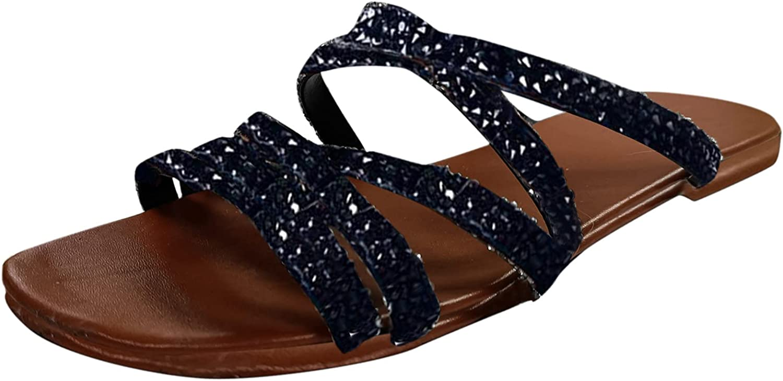 Gladiator-Sandals Open Toe Flat Sandals For Women, Orthopedic Correction Ring Toe Crystal Flat Heel Flip Flops Casual Slippers