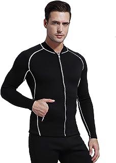GoldFin Men's Wetsuit Top Jacket, 2mm Neoprene Jacket Long Sleeve Front Zip Wetsuit Shirt for Diving Surfing Snorkeling Ra...