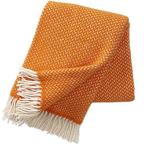 Klippan Wolldecke mit Leuchtend orangen und cremefarbenen Zickzackstreifen 130x200cm aus 100% Lambswool, ca 800 g