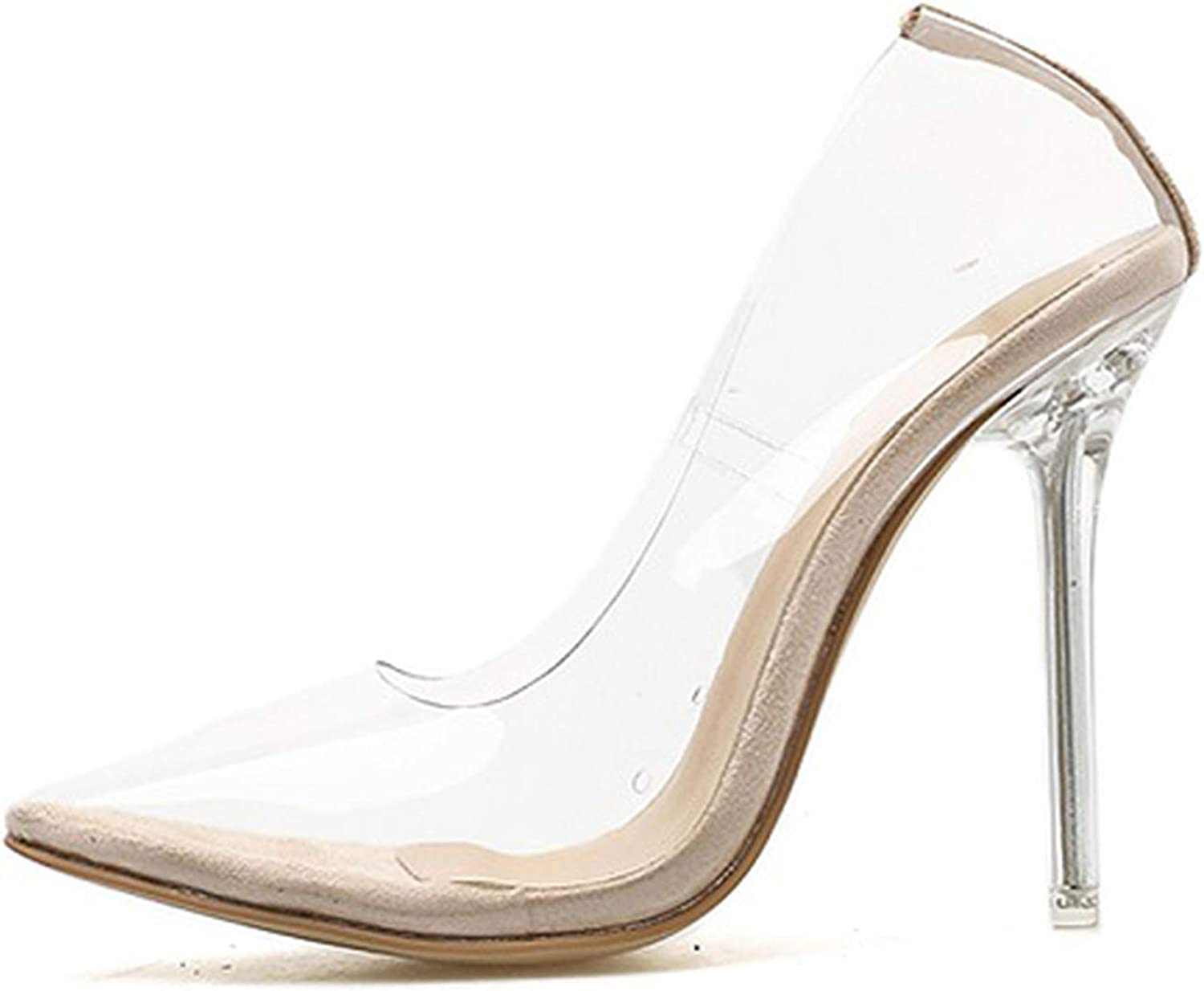 Clear PVC Transparent Pumps Sandals Perspex Heel Point Toes Womens Party shoes 35-42