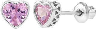 925 Sterling Silver CZ Small Heart Screw Back Earrings Baby Girl Kids