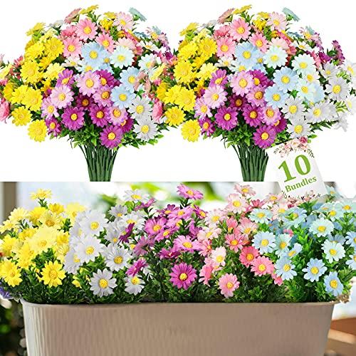 Linkstyle Flores Artificiales para Decoración, 10 Ramos de Flores Falsas de Margaritas con 5 Colores, Resistentes a los...