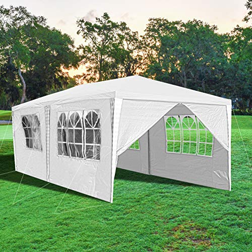 wolketon Carpa 3x6 m, Jardin Pabellón con 6 Laterales, Cenador Impermeable Jardín Gazebo, Protección UV 50+, para Fiestas, Bodas, Camping, al Aire Libre, Blanco