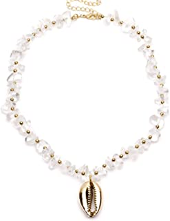 Agust D Boho Crystal Quartz 24K Gold Beads Necklaces for Women Natural Cowrie Shells Seashell Charm Gadi Bracelet Necklace Jewelry Femme