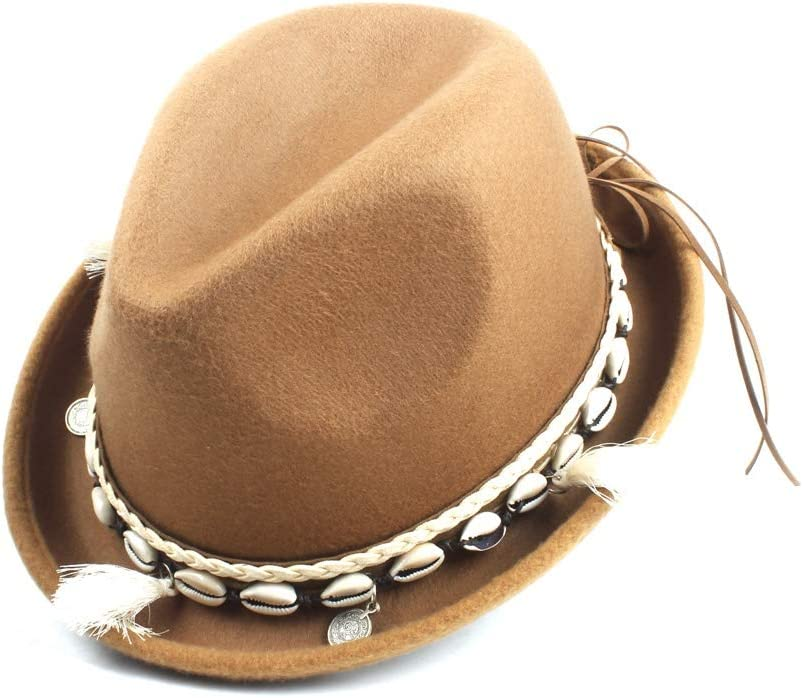 Wool Felt Winter Autumn Fedora Fedora Hat Ladies Men Tassel Solid Color Simple Classic Jazz Hat Fashion (Color : Khaki, Size : 56-58cm)