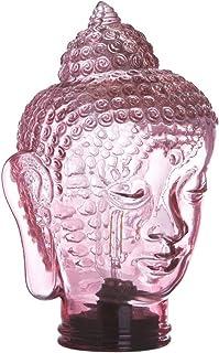 Lámpara de mesa led de cristal con forma de buda a pilas exótica rosa, de ø 19x30 cm - LOLAhome