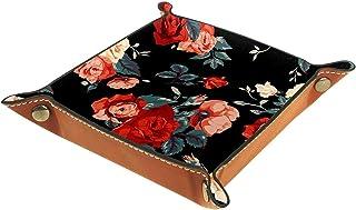 ATOMO Plateau de rangement en cuir avec fond noir et fleur rouge - Pour ranger des bijoux, des pièces de monnaie, des arti...