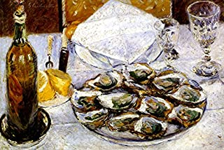 STILL LIFE WITH OYSTERS TABLE SET SEAFOOD LEMON 1880 FRENCH IMPRESSIONIST PAINTING BY GUSTAVE CAILLEBOTTE ON CANVAS REPRO