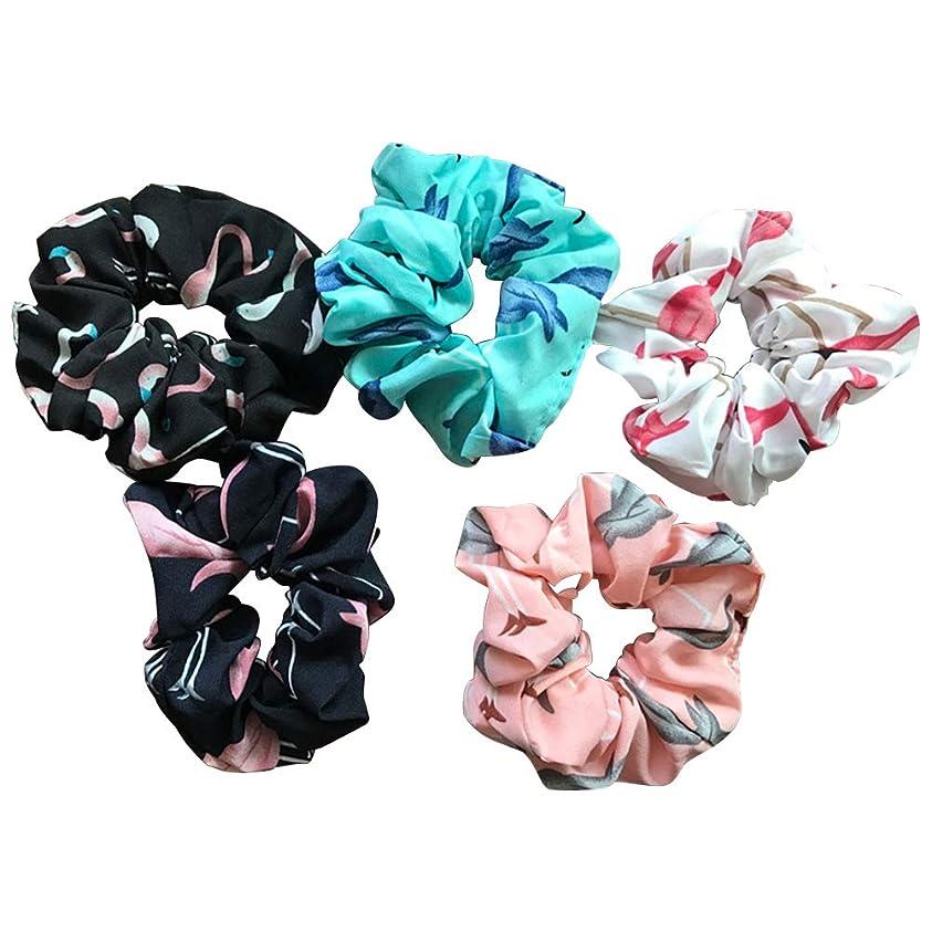 復活させる委員会公LURROSE 5本の髪のしっぽい弾力のあるヘアバンドフラミンゴプリントポニーテールホルダーシームレスなしっぽい髪のネクタイアクセサリー女性女の子用(ネイビー+ピンク+ブラック+ホワイト+ブルー)