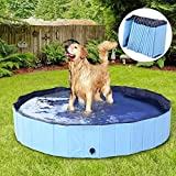 DreiWasser Dog Pool Foldable Pet Outdoor Swimming Pool Collapsible Anti-Slip Hard PVC Pet Paddling Bathtub for Large and Xtra Large Dogs, Kids, Pets((47'' 12'')/(120cm x 30cm))