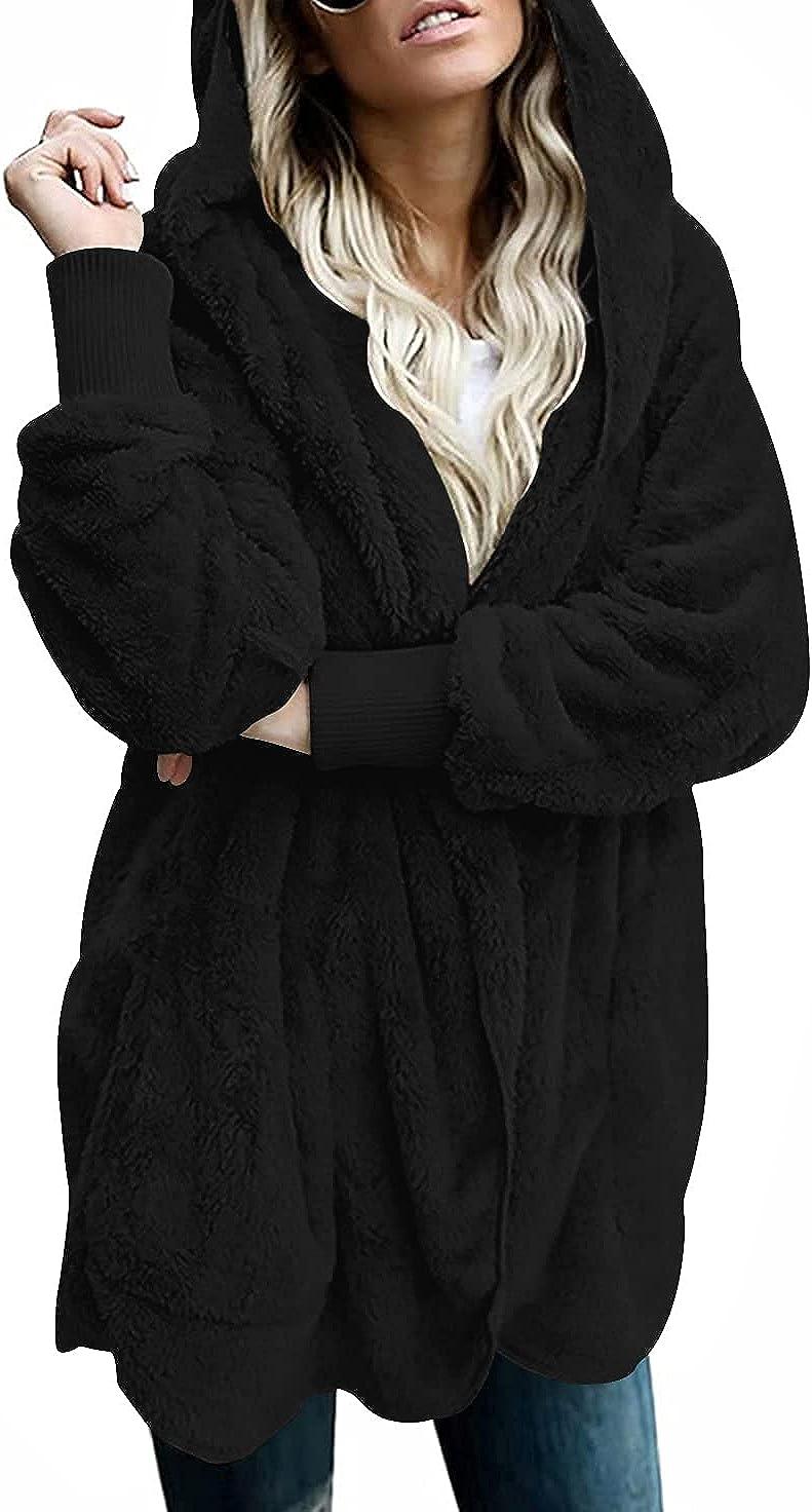 LONGYUAN Women's Long Sleeve Solid Cardigans Fuzzy Fleece Outwear Open Front Hooded Sweater with Pockets