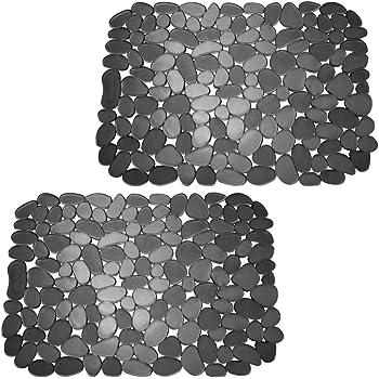 Con dise/ño de piedras Tapetes protectores para la vajilla y la pila de PVC mDesign Juego de 2 alfombrillas antideslizantes recortables Base para fregadero de cocina grande negro