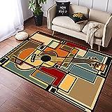 NANITHG Alfombra Salon Grandes Pelo Corto Mosaico de Colores una impresión de Guitarra acústica Suave Antideslizante Alfombras Dormitorio Modernas Lavables para Sala Habitación Infantil 120x160cm