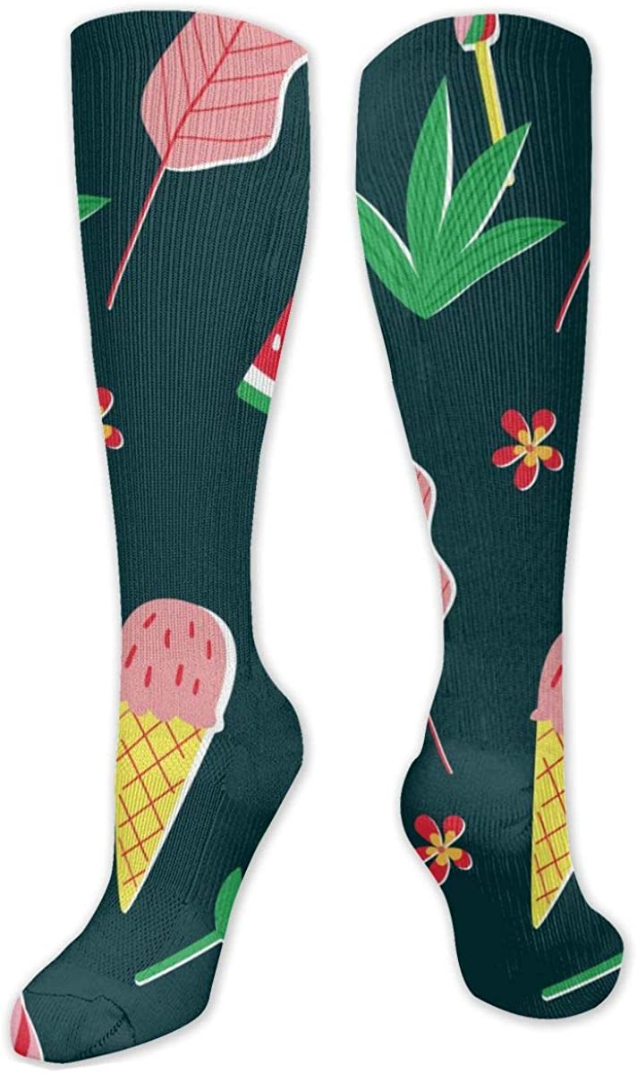 Bright Summer With Ice Cream Knee High Socks Leg Warmer Dresses Long Boot Stockings For Womens Cosplay Daily Wear