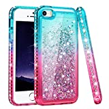 Ruky iPhone 5 5S Case, iPhone SE Case (2016), Gradient Quicksand Series Glitter Flowing Liquid Floating Sparkly Bling Diamond Soft TPU Girls Women Cute Case for iPhone 5 5S SE (Teal Pink)