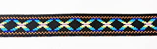 30 Yards Jacquard Ribbon Trim- Diamonds Design Blue Black Tape for Sewing Quilting Renaissance Dance Hawaiian Bridal Costumes Drapery Home Decor- 1/2