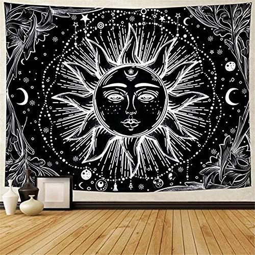Blanco Negro Sol y la Luna Mandala Tapiz Tapiz Celeste tapicería de la Pared del Hippie Pared Alfombras decoración del Dormitorio Psychedelic Tapiz tapices Tapiz (Color : Color 8, Size : 150x130cm)