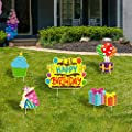 WATINC Set of 5 Happy Birthday Yard Signs with Plastic Stakes Birthday Cake CupcakeBalloon Gift Box Waterproof Lawn Sign Large Single Sided Outdoor for ColorfulBirthday Party Decorations