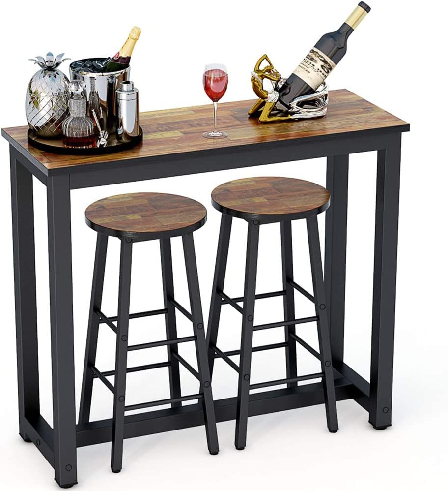 Tribesigns 9 Piece Pub Table Set, Counter Height Kitchen Bar Dining Table  with Stools Set for Breakfast Nook, Dining Room, Living Room, Small Space  ...