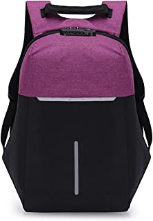 Casual Daypack,Multifunction Anti-Theft Water Resistant Laptop Backpack,College Student Outdoor Travel Reflective Bag Purple