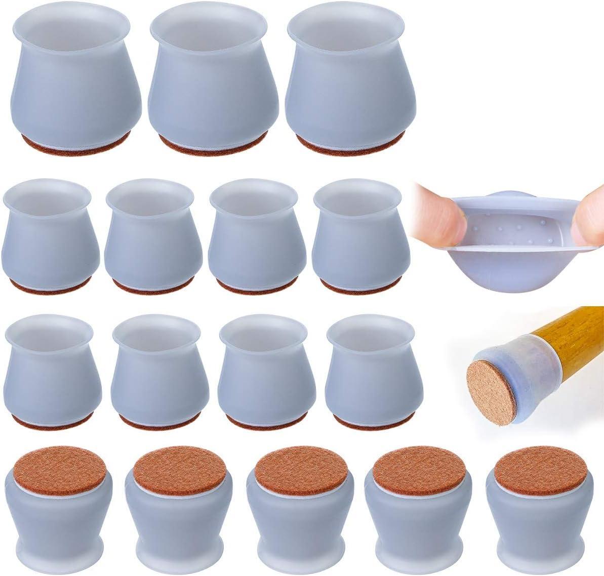 Grau mit Filz Tisch 16 Pcs Stuhlbeinkappen Silikon Bodenschoner f/ür M/öbel M/öbel-Tabellen-Abdeckungen,Verhindert Kratzer/&Ger/äusche M/öbel Silikon Schutzh/ülle,Stuhlbein-Kappen