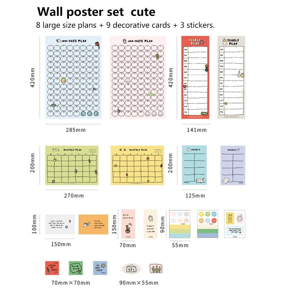 domiluoyoyo 2020 Plan de estilo simple, papel bonito, calendario de cuenta atrás de 100 días, aprendizaje