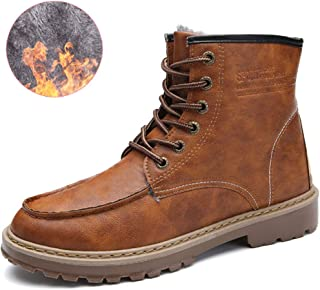 Lace-Up Men's Ankle Boots, Anti Slip Suede Winter Warm Fully Fur Lined Boots Waterproof Work Hiking Boots