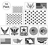 American Flag Stencil Templates 14 Pack 50 Stars Punisher Skull Flag Map Navy Army Airforce Marines Stencils, Reusable Plastic Stencils for Painting on Wood & Wall