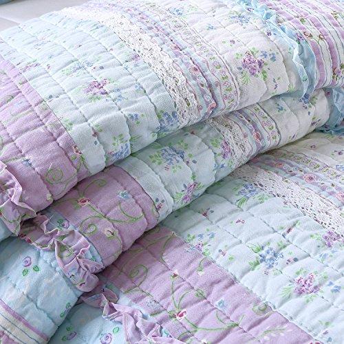 Cozy Line Home Fashions Raelynn Romantic Lace Light Lavender Orchid Blue Flower Print Stripe Cotton 3D Bedding Quilt Set, Reversible Coverlet, Bedspread for Girls Women (Twin - 2 Piece)
