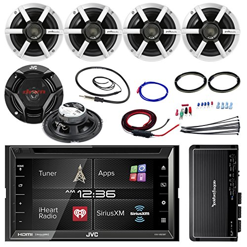 "JVC KWV620BT 6.8"" Touch Screen Car CD/DVD Bluetooth Receiver Bundle Combo with 4X 4X Polk Audio MM-Series 6.5"" Coaxial Speakers + 1000-Watt 4-Channel Amplifier with Install Kit + Enrock AM/FM Antenna"