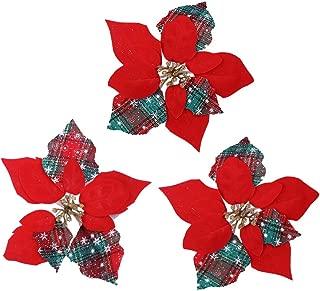 ferytyj Christmas Glitter Poinsettia Christmas Tree Ornaments Pack of 12