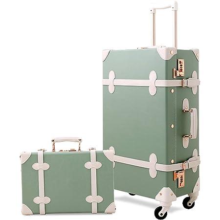 Dark Green UNIWALKER Vintage Luggage Set 20inch Women Carry on Suitcase with 12inch Handbag
