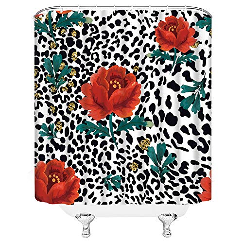Leopard Flower Shower Curtain Red Poppy Floral Gold Polka Dot Abstract Geometric Mix Wild Safari Animal Leopard Skin Pattern Modern Creative Women Fabric Bathroom Decor with Hooks