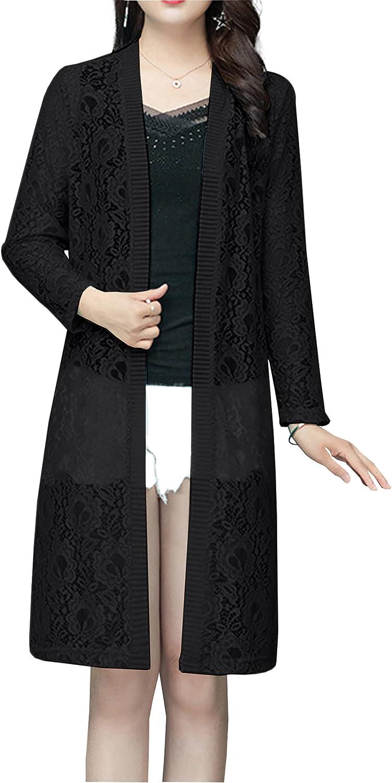 Hixiaohe Women's Long Lace Cardigan Lightweight Open Front Floral Crochet Sheer Beach Cover Ups
