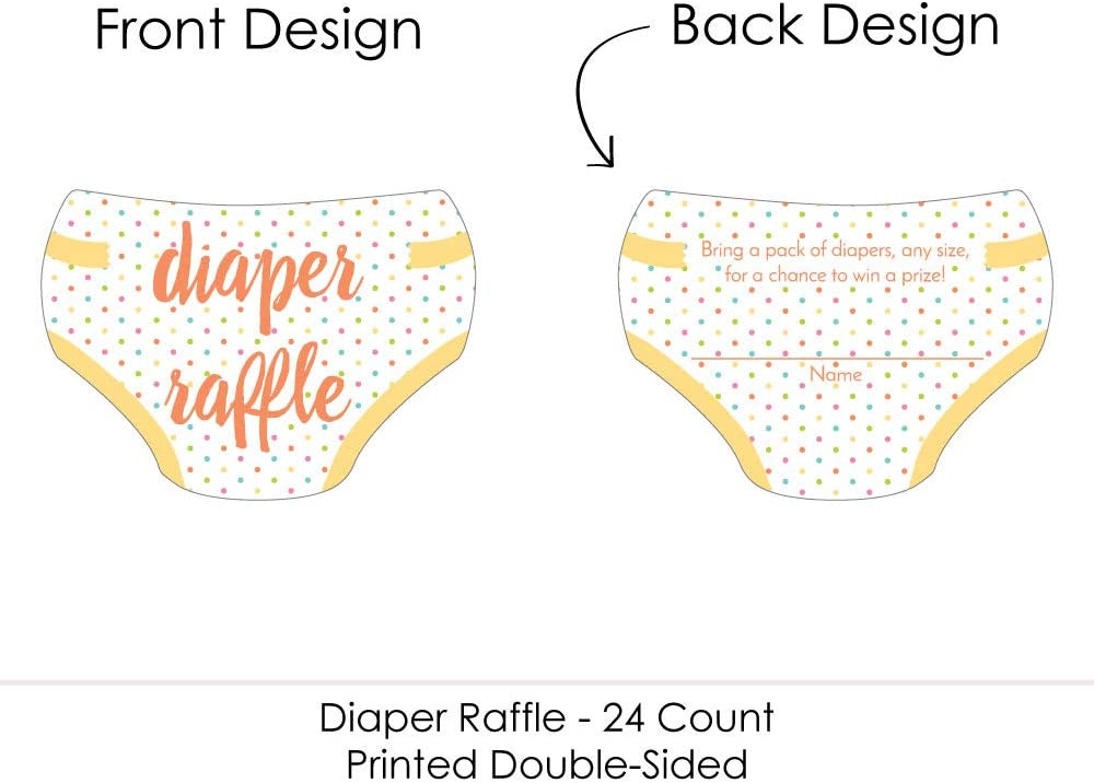 Big Dot of Happiness Baby Neutral - Diaper Shaped Raffle Ticket Inserts - Baby Shower Activities - Diaper Raffe Game - Set of 24