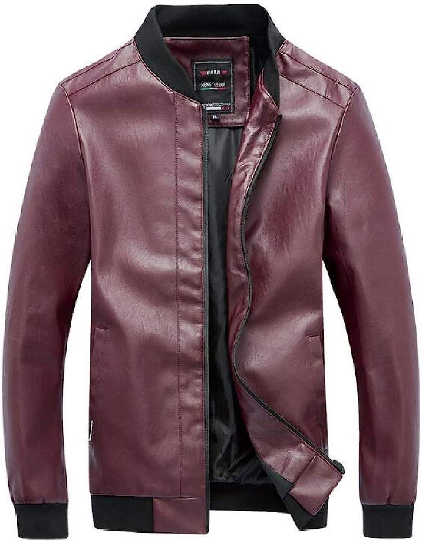SELX Men Solid color Faux Leather Moto Biker Zip Front Plus Size Slim Fit Jacket