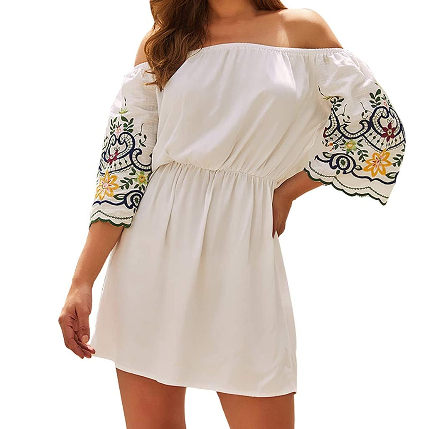 Women Boho Off Shoulder Mini Dress Half Sleeve Elastic Waist Embroidery Printed Loose Summer Beach Short Dresses