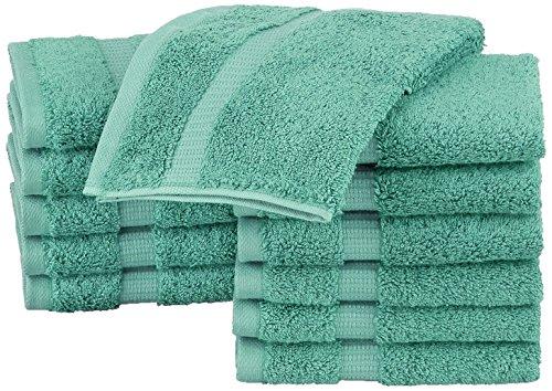 Pinzon Waschlappen aus Biobaumwoll-Mischgewebe, 12er-Pack, Mineralgrün