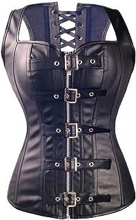 Women's Buckle Zipper Waist Corset Faux Leather Lace Up Bustier Bustier for Parties Cosplay Costume (Size : XXXXXX-Large)