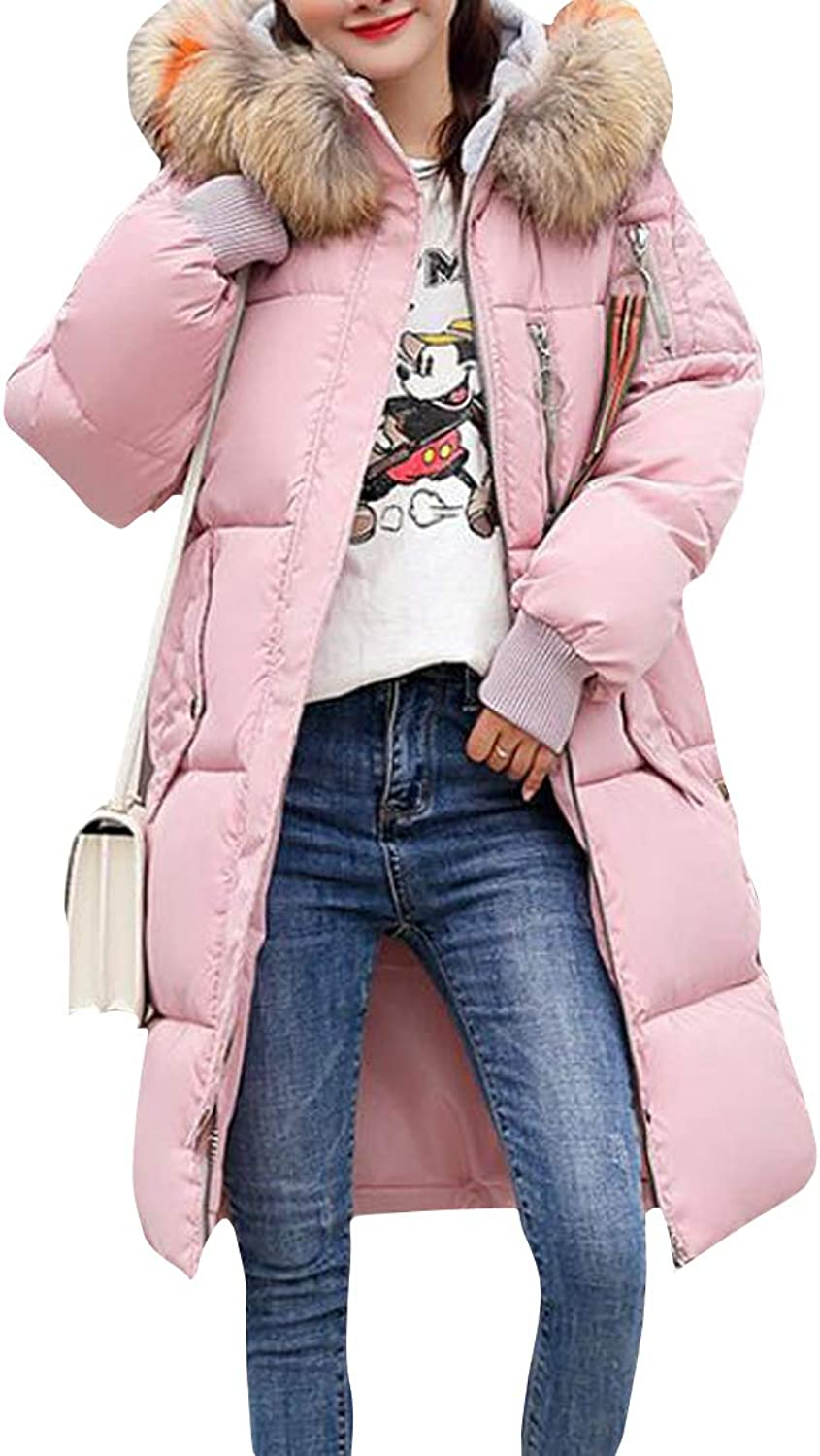 Pandapang Womens Hooded Down Coat Parkas Winter Faux Fur Collar Quilted Outerwear