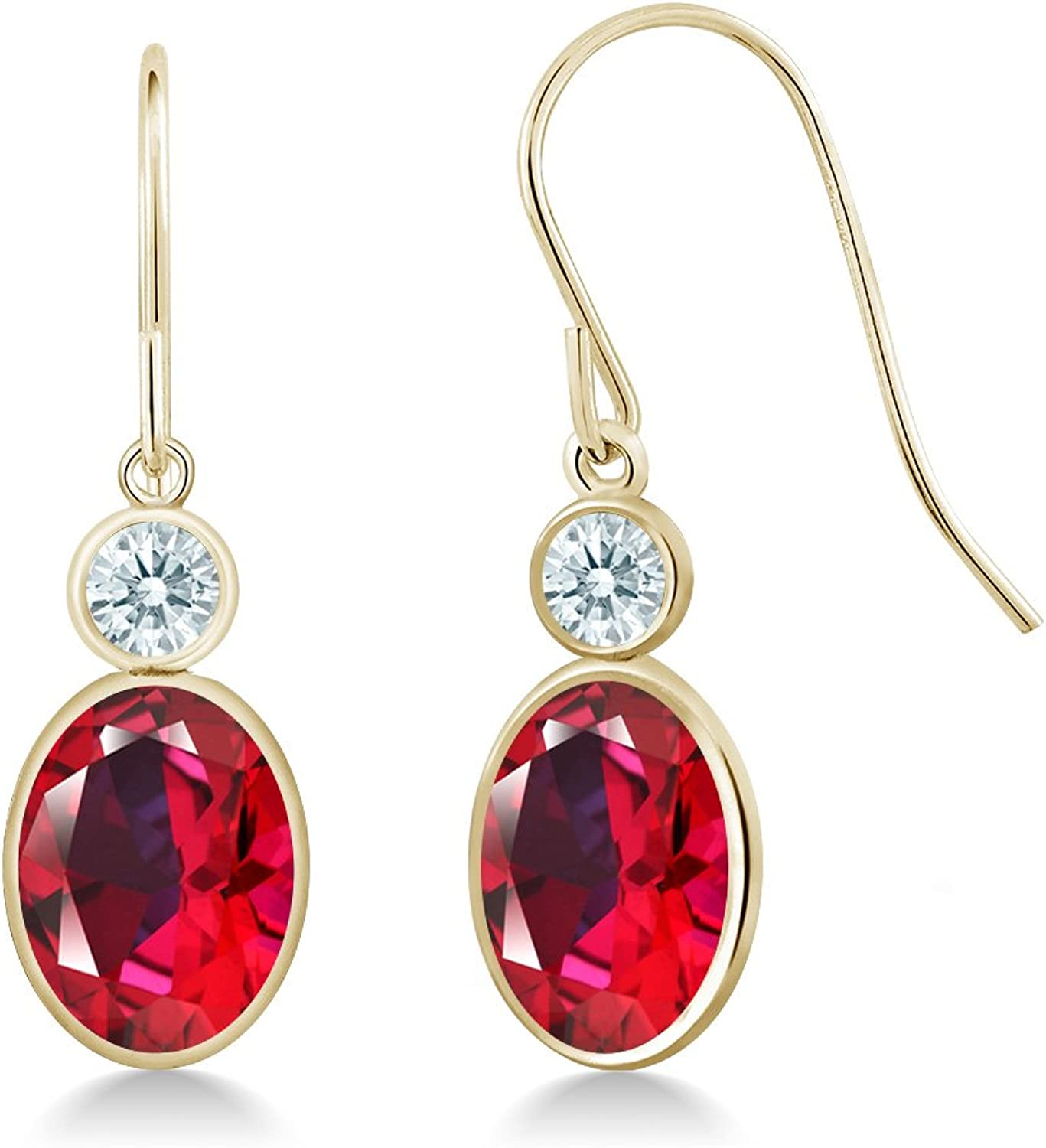 2.86 Ct Blazing Red 14K Yellow gold Earrings Natural Topaz Cut by Swarovski