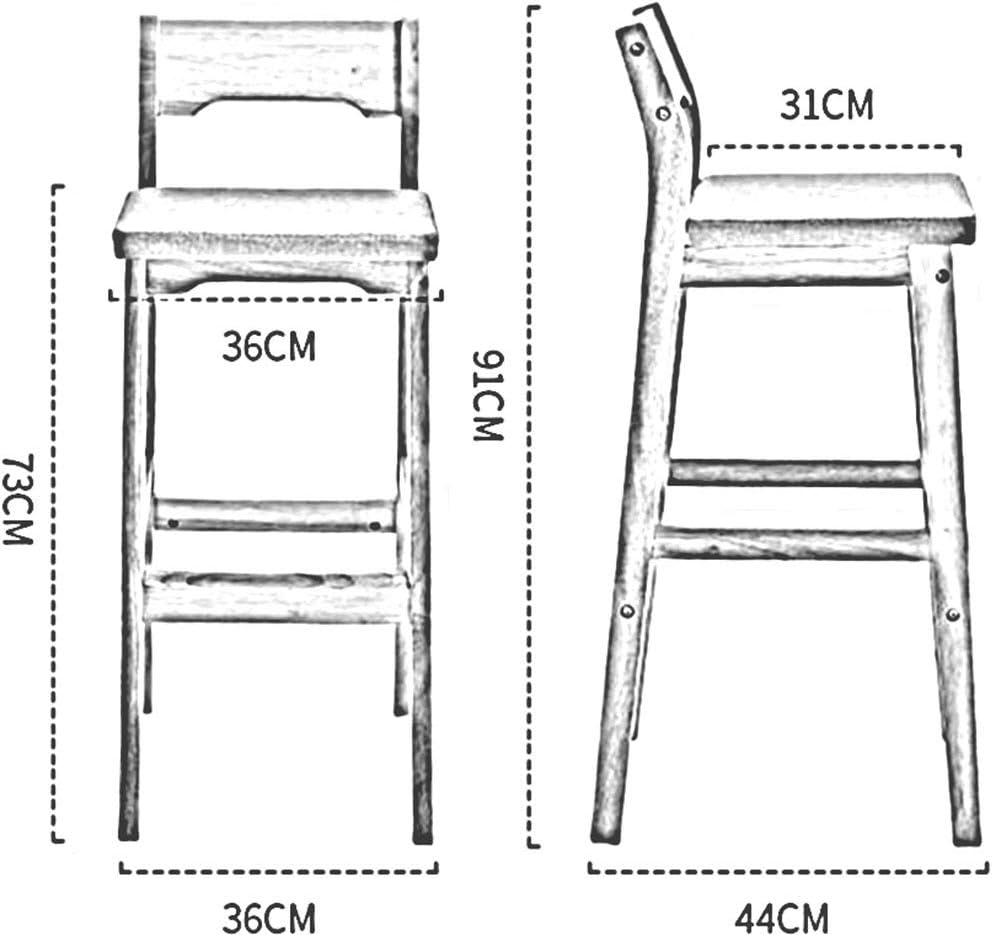 DALL Tabouret De Bar Cadre en Bois Massif Chaise De Salle À Manger Coussin PU Chaise Haute Chaise De Cuisine Meubles De Mode Hauteur D'assise 73cm (Color : Brown) Brown