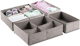 mDesign Soft Fabric Dresser Drawer and Closet Storage Organizer Set for Child/Kids Room, Nursery, Playroom - 4 Pieces, 10 ...