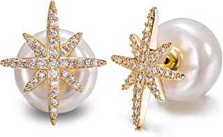 Rhinestone Star-Shaped Post with Simulated Pearl Back Earring Jackets Gold Plated