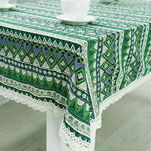 Nappe coton lin Nappe coton lin tissuTissu style ethnique, nappe impression vintage nappe - vert, 140 * 200cm